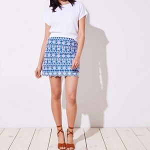 Loft Eyelet Scalloped Hem Embroidered Skirt